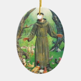 Saint Francis and prayer for pets Double-Sided Oval Ceramic Christmas Ornament