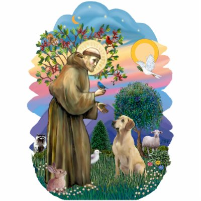 Saint Francis and Yellow Labrador Acrylic Cut Out
