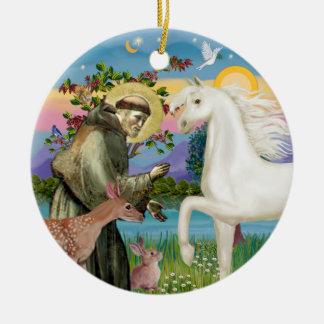 Saint Francis - Arabian Horse (white) Christmas Ornaments