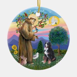 Saint Francis - Bernese Mountain Dog Christmas Tree Ornaments