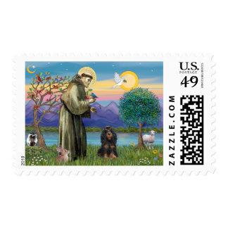 Saint Francis & Black-Tan Cocker Spaniel Postage Stamp