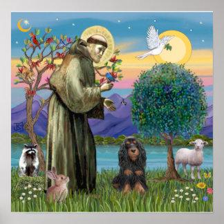 Saint Francis & Black-Tan Cocker Spaniel Poster