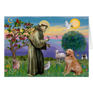 Saint Francis - Golden Retriever (#1) Greeting Cards