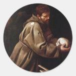 Saint Francis in Prayer - Caravaggio Classic Round Sticker
