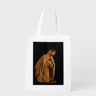 Saint Francis Kneels in Prayer Reusable Grocery Bag