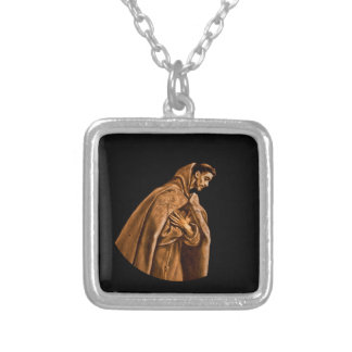 Saint Francis Kneels in Prayer Silver Plated Necklace