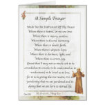 Saint Francis of Assisi A SIMPLE PRAYER Greeting Cards