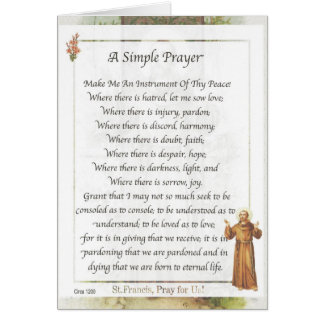 Saint Francis of Assisi A SIMPLE PRAYER Greeting Card