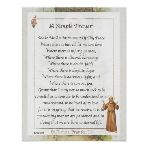 Sizzling image in st francis prayer printable