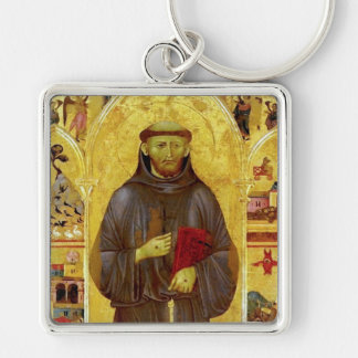 Saint Francis of Assisi Medieval Iconography Silver-Colored Square Keychain