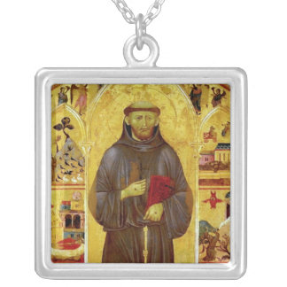 Saint Francis of Assisi Medieval Iconography Silver Plated Necklace