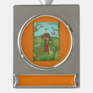 Saint Francis of Assisi Silver Plated Banner Ornament