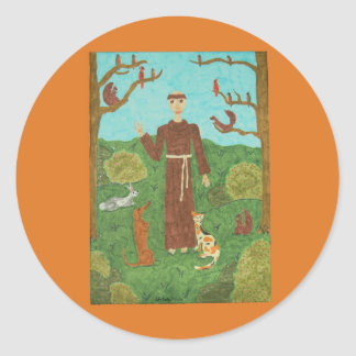 Saint Francis of Assisi Round Stickers