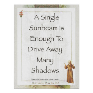 Saint Francis of Assisi Sunbeam PRAYER Poster