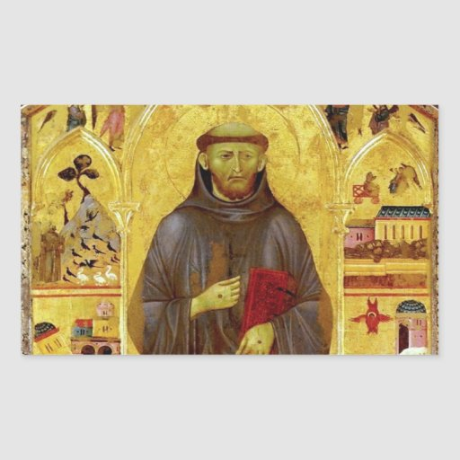 Saint Francis of Assissi Medieval Iconography Rectangular Sticker