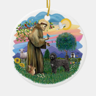 Saint Francis - Portuguese Water Dog (black) Double-Sided Ceramic Round Christmas Ornament