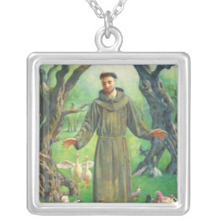 Saint Francis Silver Plated Necklace