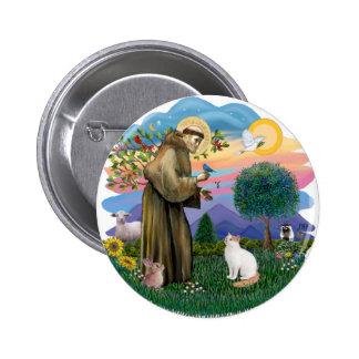 Saint Francis - Turkish Van cat Pinback Buttons
