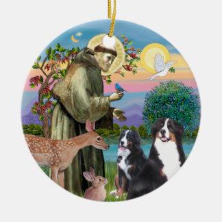 Saint Francis - Two Bernese Mountain Dogs Ceramic Ornament