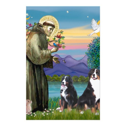 Saint Francis - Two Bernese Mountain Dogs Stationery
