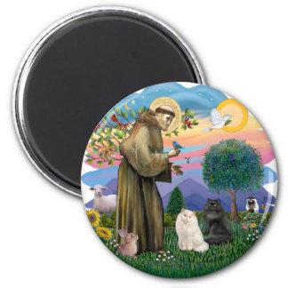 Saint Francis - Two Persian Cats (B+W) Magnet