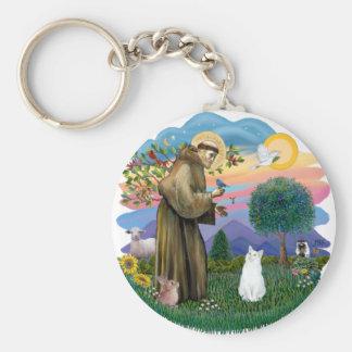 Saint Francis - White Cat (American SH) Basic Round Button Keychain