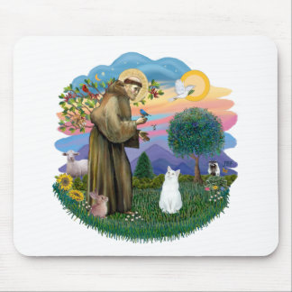 Saint Francis - White Cat (American SH) Mouse Pad