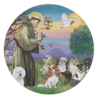 Saint Francis with 10 Dogs Melamine Plate