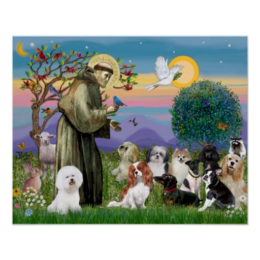 Saint Francis with 10 Dogs Posters