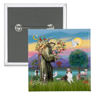 Saint Francis with Animals - custumizable Pinback Button