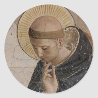 Saint Francis with Head Bowed Classic Round Sticker