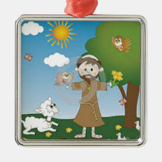 Saint Francis with lamb gift, adults, babies Christmas Tree Ornaments
