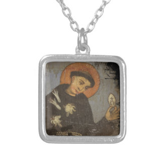 Saint Francis with White Lilies Silver Plated Necklace