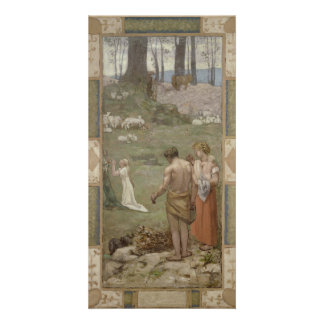 Saint Genevieve as Child in Prayer by Puvis Picture Card