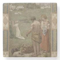 Saint Genevieve as Child in Prayer by Puvis Stone Coaster