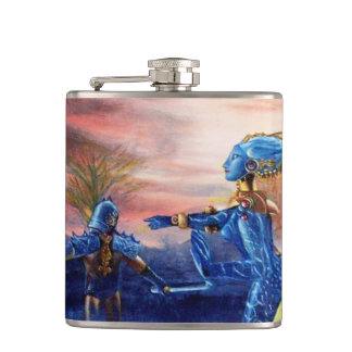 SAINT GEORGE AND ALIEN DRAGON HIP FLASK