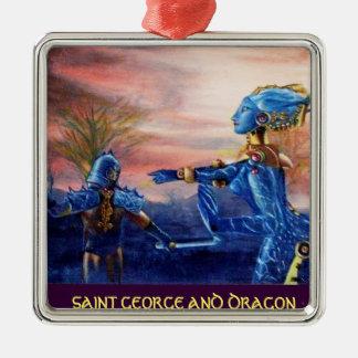 SAINT GEORGE AND ALIEN DRAGON METAL ORNAMENT