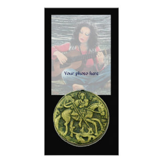 SAINT GEORGE AND DRAGON MEDALLION ,black Card
