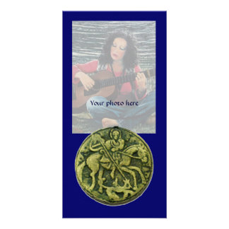 SAINT GEORGE AND DRAGON MEDALLION, blue Picture Card