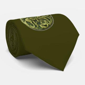 SAINT GEORGE AND DRAGON MEDALLION, green Neck Tie