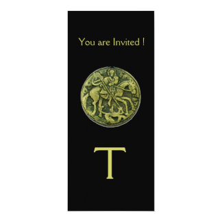 SAINT GEORGE AND DRAGON MEDALLION MONOGRAM ,black Card