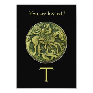 "SAINT GEORGE AND DRAGON MEDALLION MONOGRAM ,black 5"" X 7"" Invitation Card"