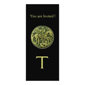 "SAINT GEORGE AND DRAGON MEDALLION MONOGRAM ,black 4"" X 9.25"" Invitation Card"
