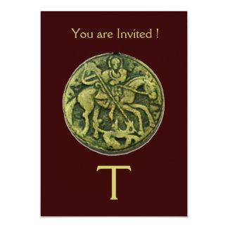 "SAINT GEORGE AND DRAGON MEDALLION MONOGRAM ,brown 5"" X 7"" Invitation Card"