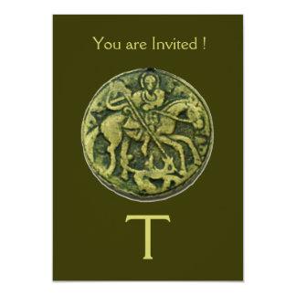 "SAINT GEORGE AND DRAGON MEDALLION MONOGRAM 5"" X 7"" INVITATION CARD"