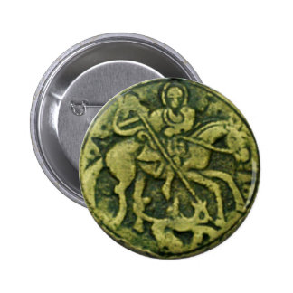SAINT GEORGE AND DRAGON MEDALLION PINBACK BUTTON