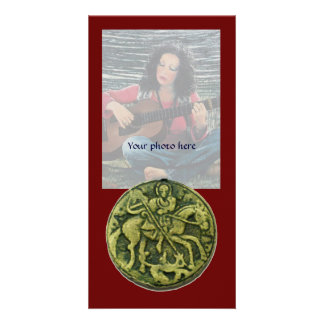 SAINT GEORGE AND DRAGON MEDALLION, red green Personalized Photo Card