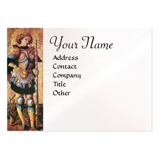 SAINT GEORGE AND DRAGON Monogram,white pearl paper Large Business Cards (Pack Of 100)
