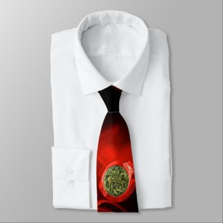 SAINT GEORGE AND DRAGON Red Fractal Rose in Black Neck Tie