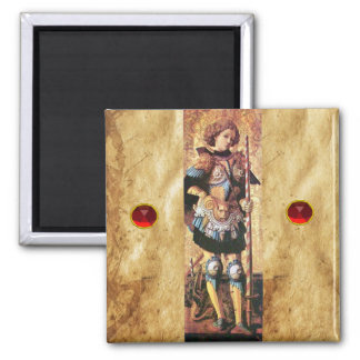 SAINT GEORGE AND DRAGON ,red ruby Refrigerator Magnet
